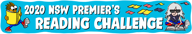 The premier's reading challenge banner. On the left side there is a cartoon boy reading a yellow book and on the right side there is a white hair girl sitting down reading a book.